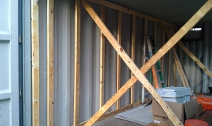 interior wood framing with temporary cross bracing