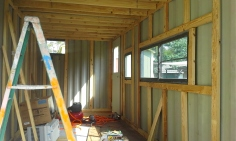 Completed wood framing