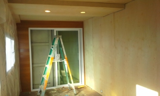 "Interior walls finished with 3/4"" plywood"